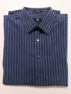 Calvin Klein - Men's Dress Shirt Size XXL 18 38/37 Blue Striped with Long Sleeve #CalvinKlein ..... Visit all of our online locations ..... (www.stores.eBay.com/variety-on-a-budget) ..... (www.amazon.com/shops/Variety-on-a-Budget) ..... (www.etsy.com/shop/VarietyonaBudget) ..... (www.bonanza.com/booths/VarietyonaBudget ) .....(www.facebook.com/VarietyonaBudgetOnlineShopping)
