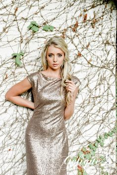 Grace design Gelique bridesmaids dress. Metallic sequence bridesmaid dress. Available in a variety of sizes and colours from Brides of Somerset. Full glitter dress with drop back. Long, knee-length or short available.