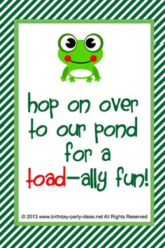 Frog Birthday Party #party #birthday #decoration #cakes #favors #themedbirthday #games #printable #quotes #invitation #sayings #birthdaypartyideas #bpartyideas  #frog