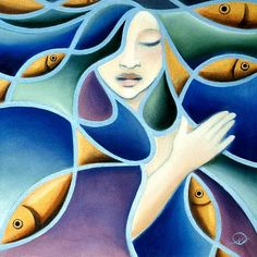 Pisces Unlimited edition print by Nathalie Parenteau. There is a humorous side to Nathalie's art which leads to her whimsical images. Nathalie currently resides in Whitehourse, Yukon. Princess Mural, Claudia Tremblay, Native American Artists, Canadian Artists, Organic Art, Inuit Art, Indigenous Art, Fish Art, Native Art