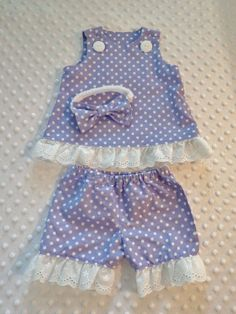 Baby or Reborn Girl Dress Set 0-3 mo. Handmade Purple White Polka Dot  #Handmade #Everyday