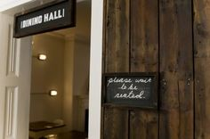 Amelie and Friends, dining hall, wood and white, English restaurant, rustic chic restaurant
