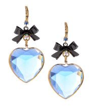 Betsey Johnson clear blue heart earrings