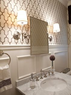 Powder Room Grasscloth Bathroom Design, Pictures, Remodel, Decor and Ideas - page 2
