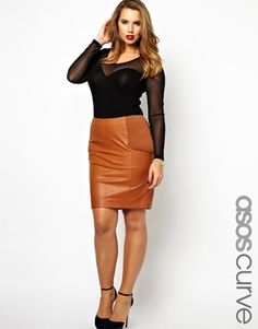 Image 1 of ASOS CURVE Exclusive Pencil Skirt In Leather