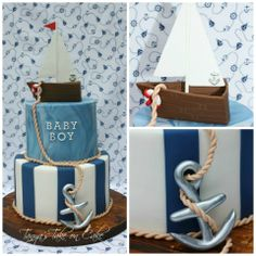 Nautical themed baby shower cake. Handmade sugar sailboat and anchor add the perfect elements to this cake.