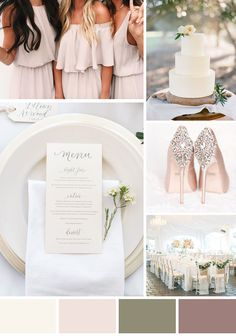 Simplicity, dusty pink, neutral and white wedding colour scheme