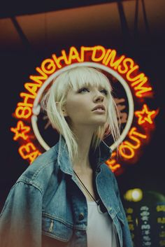 . platinum blonde with straight bangs