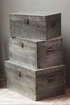 stack of grey vintage inspired boxes. Repinned by www.silver-and-grey.com