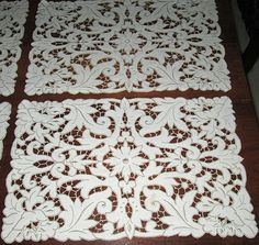 Stunning White Linen Tablecloth Topper Cutwork Embroidery Butterflies $29.99 - Google Search