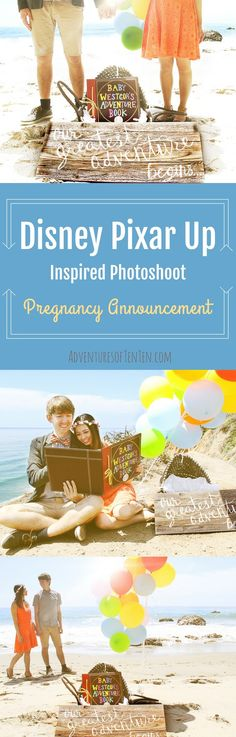 Disney Pixar Up Photshoot Pregnancy Announcement Malibu, CA Disney couple