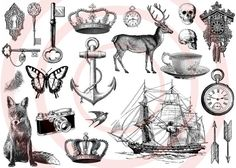 vintage whimsy- tattoo pack- 22 temporary tattoos - deer, butterfly, ancor, nautical, fox, woodland, mothers day, Spring, Accessories