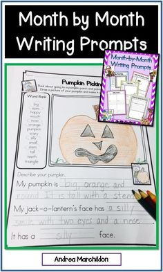 This Month-by-Month Writing Prompts packet will take you through the year! There are over 50 writing prompts for your students! Some themes include: back to school, picking pumpkins, holidays, seasons, and so many more!Great for kindergarten, first and se Writing Prompts 2nd Grade, Second Grade Writing, Writing Prompts For Writers, Picture Writing Prompts, 2nd Grade Reading, Writing Ideas, Middle School Activities, First Grade Activities, School Themes