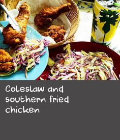 Coleslaw and southern fried chicken Fried Cabbage Recipes, Bacon Fried Cabbage, Slaw Recipes, Apple Recipes, Simple Slaw Recipe, American Recipes, Dutch Recipes, Mayonnaise