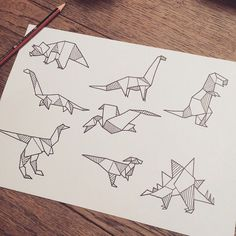"""""""Definitely would love to tattoo these little origami dinosaurs, if you're keen contact me via email or Instagram (also the Lost and found email is…"""""""