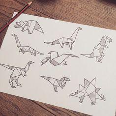 origami dinosaur sketch - Google Search