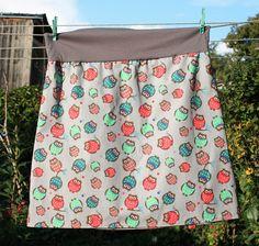 frecher bunter Rock Eule retro skirt Herbst Karo owl S,M,L,XL  von Nostalgie Gretel häkelt und schenkt auf DaWanda.com