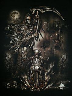 The Grim Reaper by Alicetiger on DeviantArt Grim Reaper Art, Grim Reaper Tattoo, Don't Fear The Reaper, Dark Fantasy, Fantasy Art, Art Harley Davidson, Badass Skulls, Biker Tattoos, Tatoo