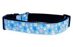 MiragePet Pet Outdoor Training Puppy Safety Walking Lead Butterfly Nylon Ribbon Adjustable Dog Collar Blue Medium