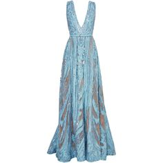 Elie Saab Embroidered Light Blue Double Silk Georgette Gown ($16,200) ❤ liked on Polyvore featuring dresses, gowns, long dress, see through dress, light blue evening gown, light blue gown, sheer dress and sheer gown