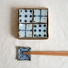 Polka dot & Cross and Vortex Chopstick holder set by Bluemics, $50.00