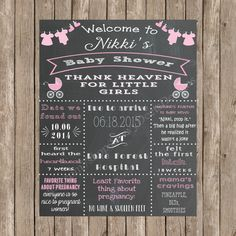 Custom Chalkboard Clothing Line & Baby Carriages Baby Shower Sign Thank Heaven for  Little Girls
