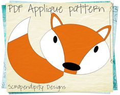 Fox Applique Template - Applique Quilt Pattern / Kids Boys Fox Tail Applique Shirt / Forest Table Runner / Toddler Nursery Blanket / DIY by ScrapendipityDesigns, $4.00