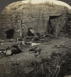 Two German soldiers lying dead outside of a concrete bunker captured by Allied forces after the Battle of the Menin Road, Belgium, 1917. Animated stereoview.