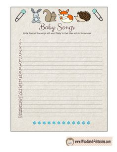 Write Baby Songs Game