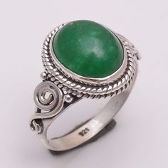 925 Sterling Silver Ring US Size 7, Natural Green Jade Gemstone Jewelry R2344 #Handmade #Fashion