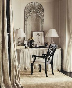 Best Old Hollywood Glamour Bedroom Interior Design Ideas - Page 15 of 21 Style Key West, Hollywood Glamour Bedroom, Hollywood Vanity, Hollywood Style, Hollywood Regency, Dressing Table Vanity, Dressing Tables, Dressing Rooms, Dressing Area
