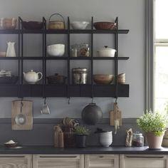 Kitchen Rack Shelf In Ikea Kitchen Rack, Kitchen Cabinet Doors, Kitchen Shelves, Kitchen Cabinets, Kitchen Interior, Kitchen Decor, Home Interior, Owl Kitchen, Rustic Kitchen