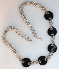 Chain Maille necklace with Jet Swarovski by JewelleryandGlass