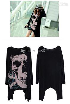 Womens Skull Head Punk Rock Long Sleeve Dip Asymmetrical Hem T Shirt Dress Top