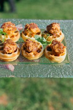 mini chicken and waffles, The Catering Outfit. Ellen & Chris Real Wedding featured in Weddings Unveiled Fall 2014
