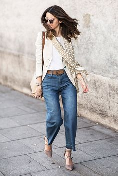 spring / summer - spring outfits - summer outfits - street style - street chic style - casual outfits - work outfits - beige blazer, beige and gold pattern silk scarf, brown suede belt, denim culottes, taupe suede lace up heels, nude shoulder bag, pink mirror sunglasses