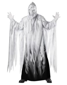 Screaming Ghost Adult Costume exclusively at Spirit Halloween - You won't be the only one that turns white when you wear this horrifying Screaming Ghost adult costume! Give everyone the fright they've been waiting for in these ragged white robes and skull mask. Only the bravest of men will dare approach you. Get ghostly for $49.99.
