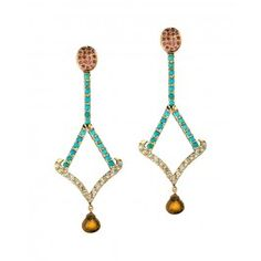 Turquoise and Pink Tourmaline Chandelier Earrings by Madhuri Parson | Shop now! #Luxe #Designer #Necklaces #Jewellery #Earrings Fine Gold Jewelry