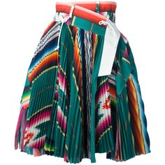 Sacai Mexican Stripe Pleated Skirt (€1.320) ❤ liked on Polyvore featuring skirts, bottoms, multi color skirt, stripe skirt, mid length skirts, pleated mid length skirts and striped skirt