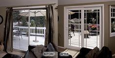 Before: Old sliding door. After: Milgard Tuscany® Series Vinyl Sliding doors