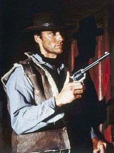 """Movie still of Clint Eastwood in """" A Fistful of Dollars"""" Clint Eastwood Western Movies, Actor Clint Eastwood, Man On Fire, Sergio Leone, Western Film, Hero Movie, 90s Movies, Attractive People, Action Movies"""