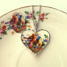 Sweet little bluebirds broken china jewelry heart pendant necklace made from a broken plate
