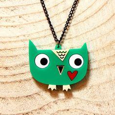 Doodllery Necklace - Owl with heart Pinned by www.myowlbarn.com