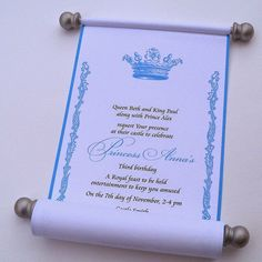 Royal princess birthday invitation scroll, for the royal birthday, gender reveal, bridal shower or baby shower. Included: 10 scrolls with ribbon in quantity as selected. Specifics: Printed paper area is 5 Royal Princess Birthday, Princess Birthday Invitations, Prince Birthday, Disney Princess Party, Cinderella Invitations, Cinderella Sweet 16, Cinderella Theme, Cinderella Birthday, Cinderella Princess
