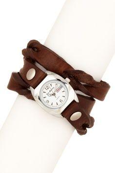 Red Monkey  Ladies Bullet Braided Triple Wrap Watch