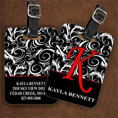 Dixie Midwest - Damask Black Personalized Luggage Tags, $8.95 (http://www.dixiemidwest.com/damask-black-personalized-luggage-tags/?pp=0/)