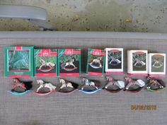 Lot Of 7 1989-1994 Hallmark Keepsake Rocking  Horse Ornaments with boxes