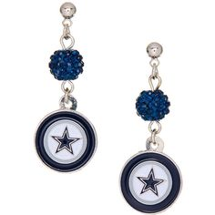 Simran Dallas Cowboys Shambala Post Earrings ($8.99) ❤ liked on Polyvore featuring jewelry, earrings, long earrings, stainless steel post earrings, polish jewelry, long post earrings and stainless steel jewelry