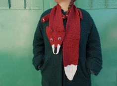 reddish-brown FOX scarf with big eyes / hand by giantscanfly Fox Scarf, Pink Doll, Reddish Brown, Big Eyes, Canada Goose Jackets, Hand Knitting, Winter Jackets, Black And White, Sweaters