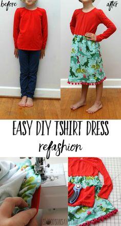 Enkel DIY tshirt klänning igen – hur man fäster en kjol till en t-shirt Sewing Projects For Beginners, Sewing Tutorials, Sewing Hacks, Sewing Crafts, Sewing Ideas, Sewing Tips, Diy Projects, Sewing For Kids, Free Sewing